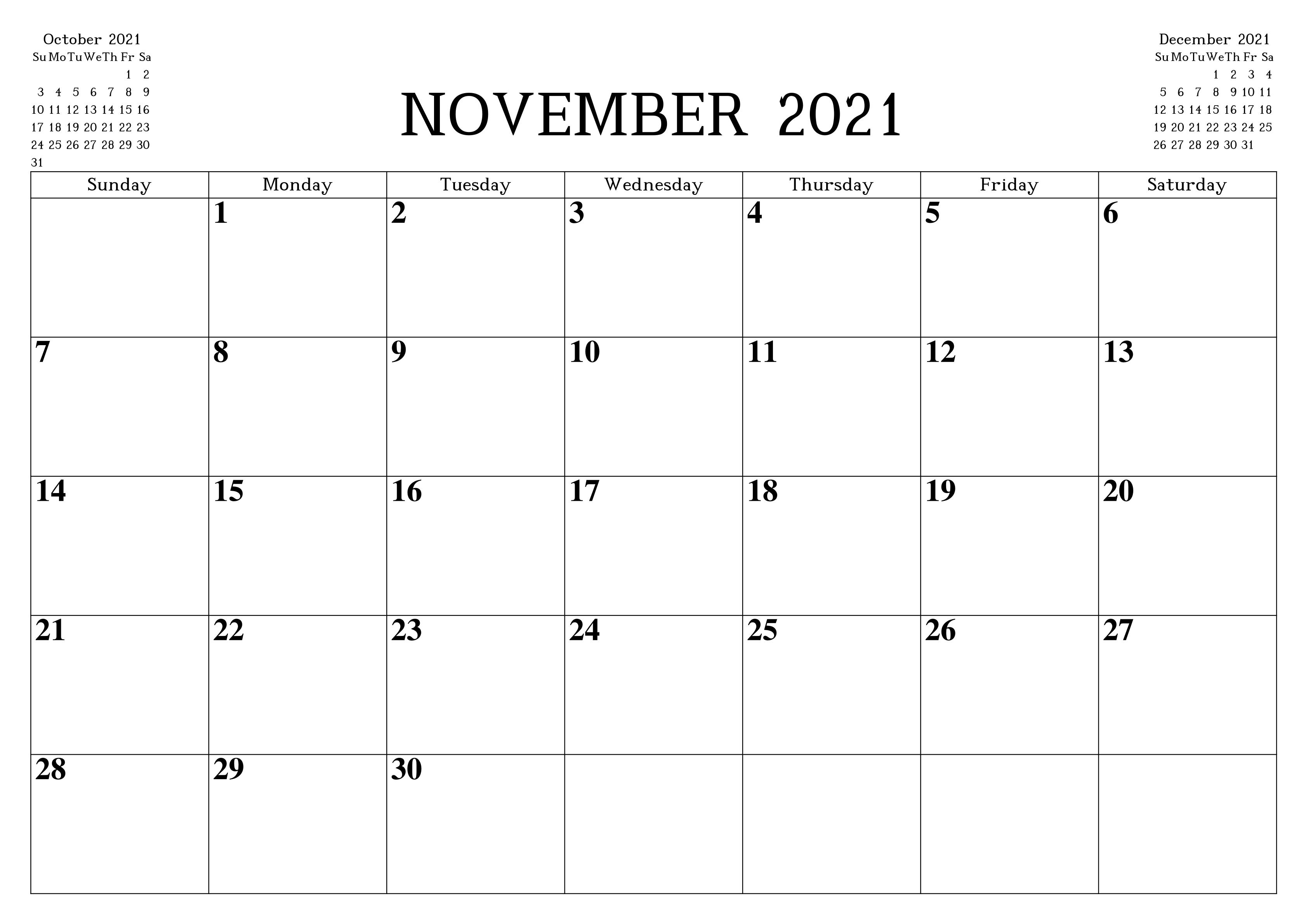 Usa Holidays Calendar November 2021 Calendar Printables Monthly Calendar Printable Blank Monthly Calendar