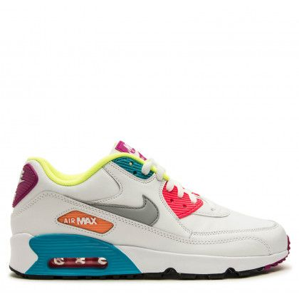 cheap for discount 6da72 ddd33 ... shopping nike kids air max 90 leather grade school white wolf grey  chlorine blue racer pink