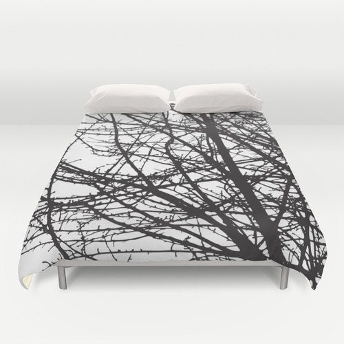 Black And White Tree Branches Modern Duvet Cover Queen Size King