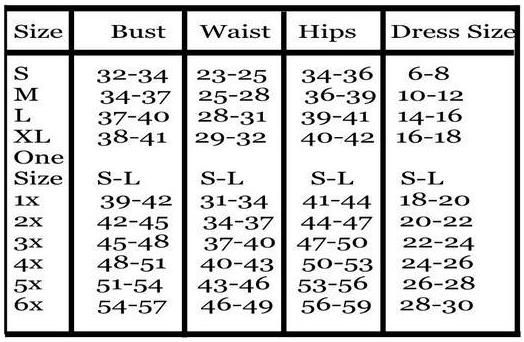 Size Chart For Plus Women S