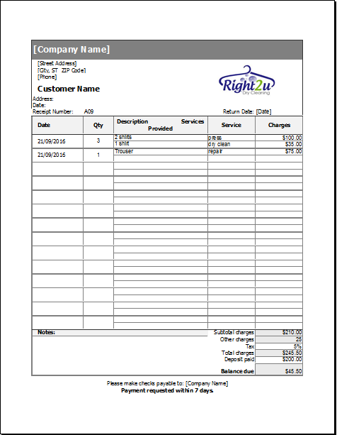 Dry Cleaning Receipt Template For Excel Receipt Template Dry Cleaning Invoice Template