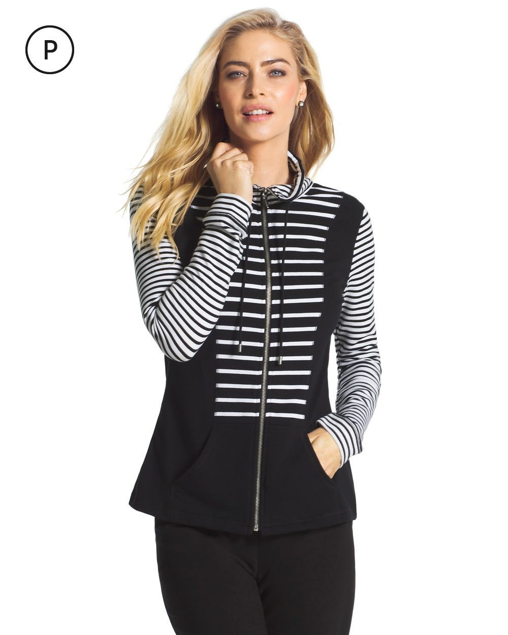 Chico's Women's Zenergy Knit Collection Petite Stripe Inset Jacket