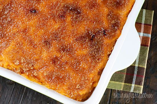 Mashed sweet potatoes with a hint of cinnamon and nutmeg, topped with a caramelized brown sugar crust. Sweet potatoes are a must for Thanksgiving and this dish will be a hit on your Holiday table.  I am starting to post Thanksgiving recipes since it's right around the corner, so we are testing out lots of side dishes in my home. We really loved this recipe, I can happily say this is the dish that finally turned me into a sweet potato fan. Previously I only enjoyed them as sweet potato fries…