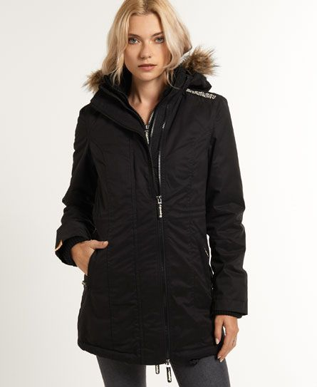 Womens - Hooded Super Wind Parka in Black/cream | Superdry