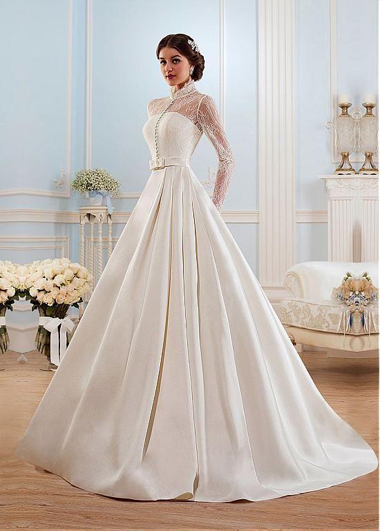 comprar glamorous satén cuello alto vestido de novia de escote una