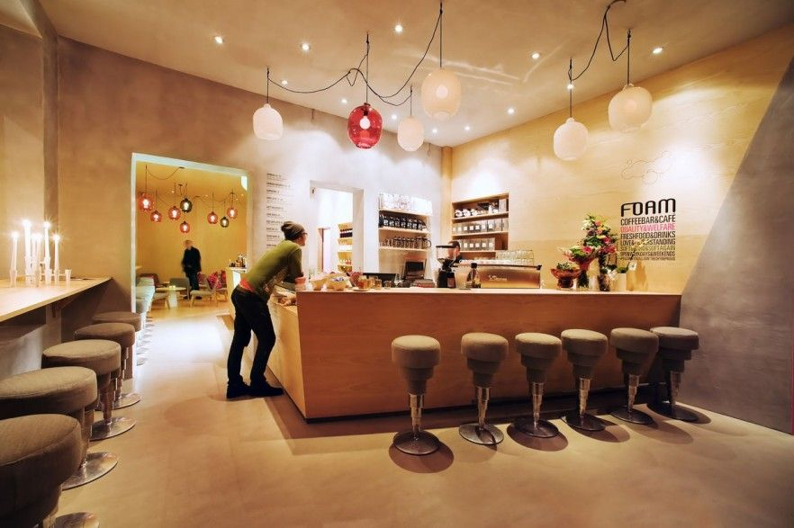 Modern cafe interior design with white contemporary bar stools ...