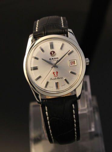 Mens Vintage Swiss Rado Purple Horse Automatic W Date Dress Watch 1970s Ebay Watches For Men Cool Watches Vintage Men