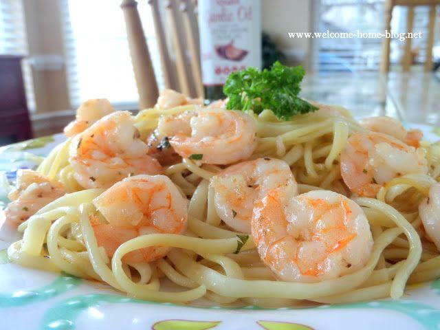 Welcome Home Blog: Shrimp Scampi Over Pasta