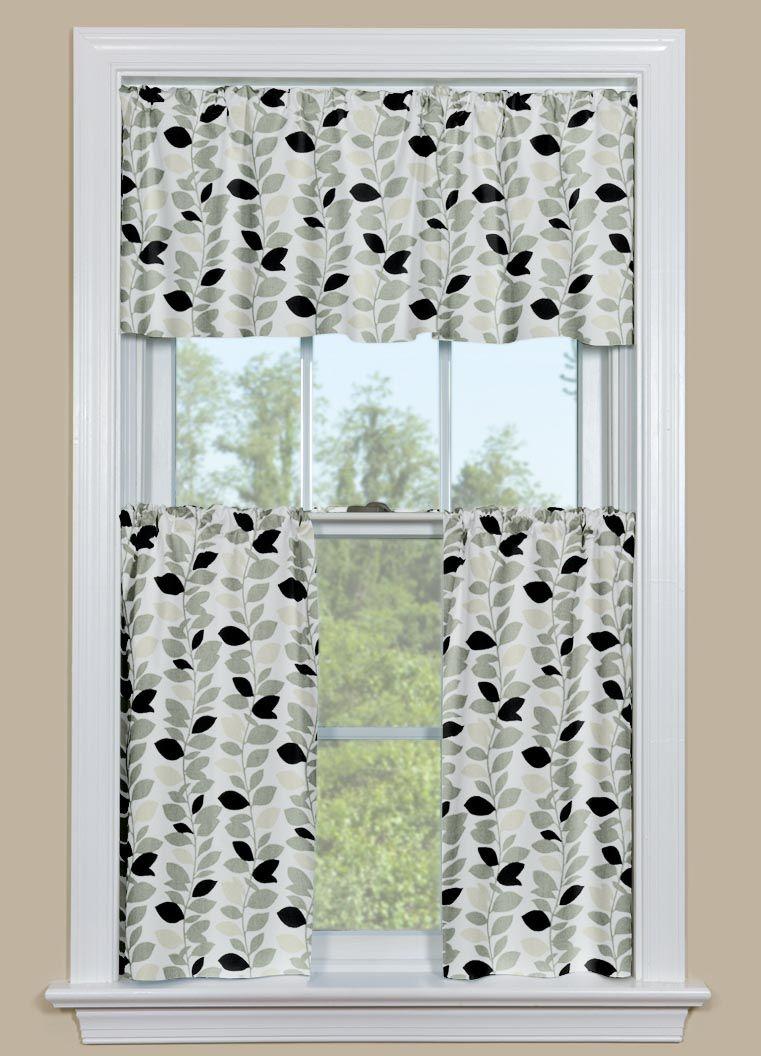 black and white kitchen valance | white kitchen curtains, white kitchen valance, black and grey