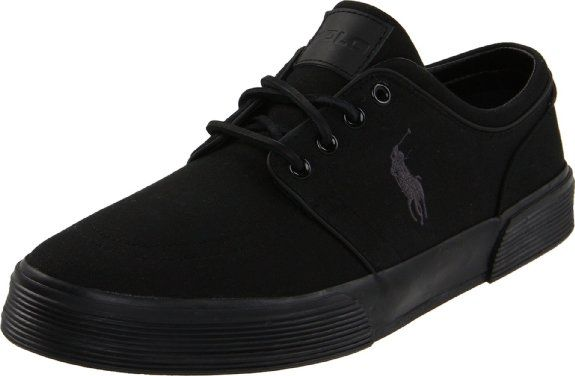 All Black Polo Ralph Lauren Men s Faxon Low Sneaker  Men s Shoe ... aa77ecc39005