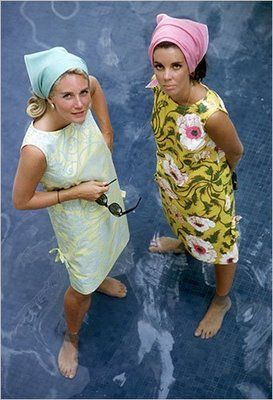 Lilly Pulitzer shift dresses, 1960s and triangle scarves - Loved these.