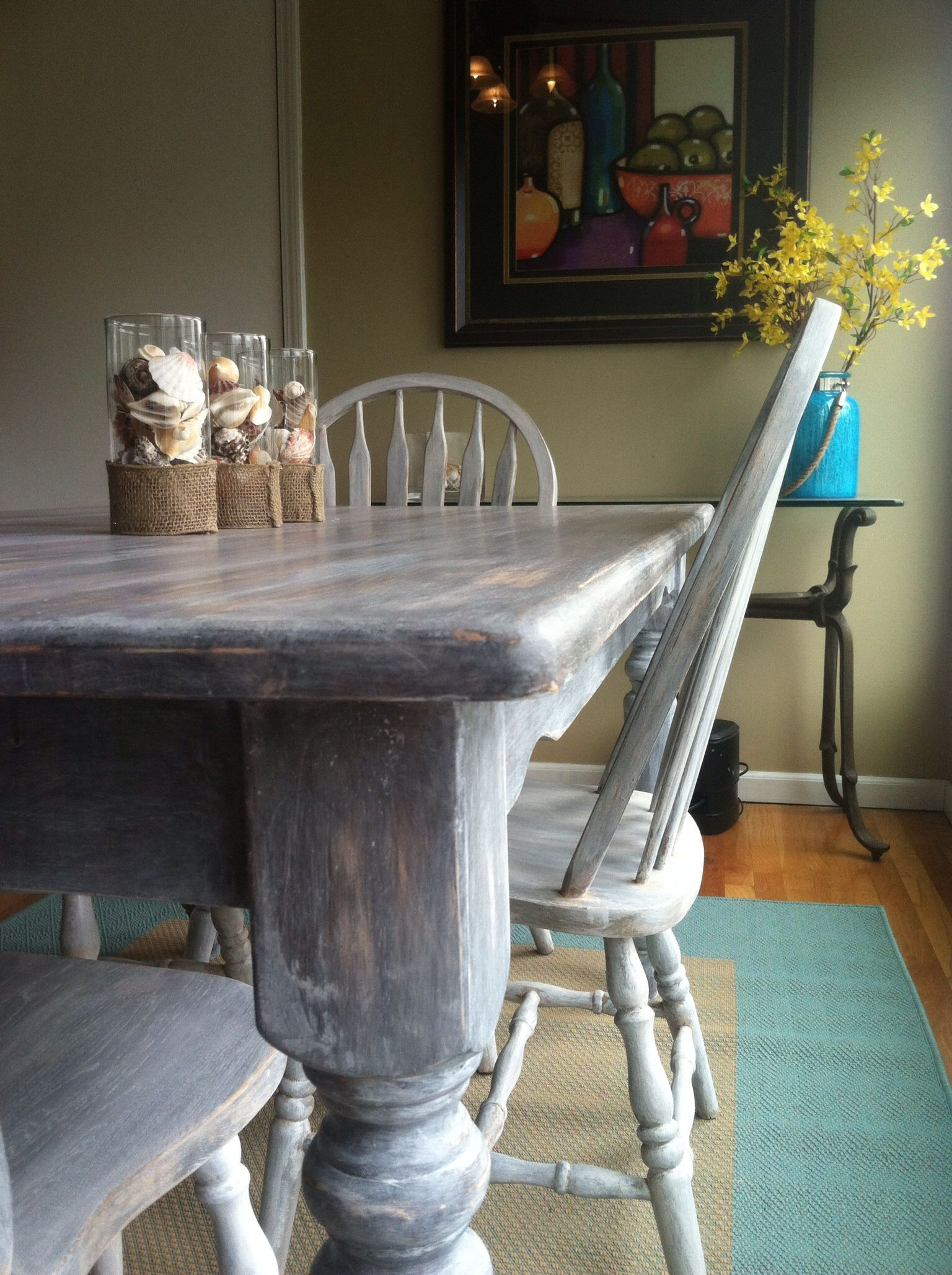 My Refinished 90s Fugly Oak Table And Chairs Are Now Beachy, Fun, And Oh