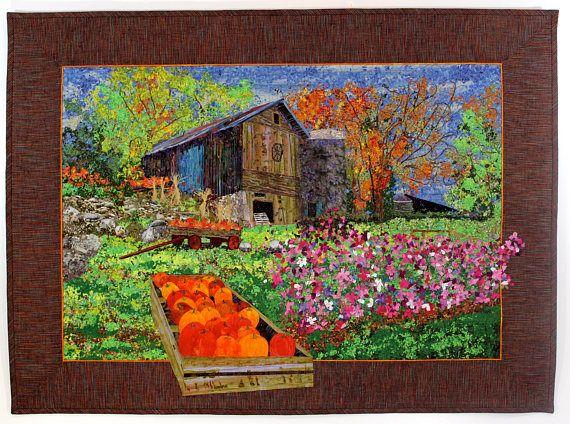 Harvest Time Art Quilt, Original Design, Autumn Farm Scene ...