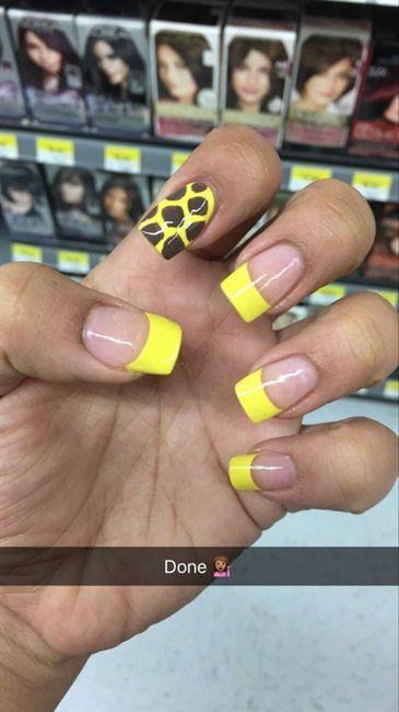 Giraffe Nails W Yellow Tips By Gabi1074289 Via Nailartgallery