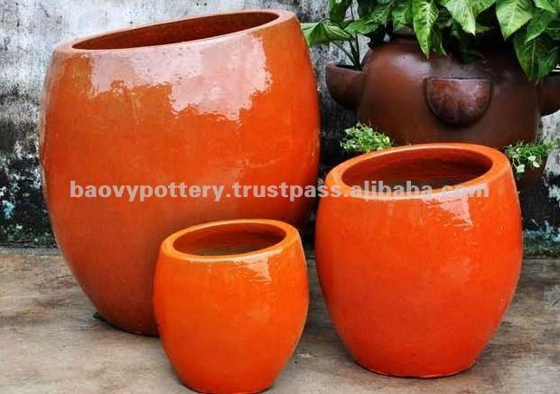 Orange Colored Outdoor Planter Google Search Ceramic Planters Ceramic Pot Planters