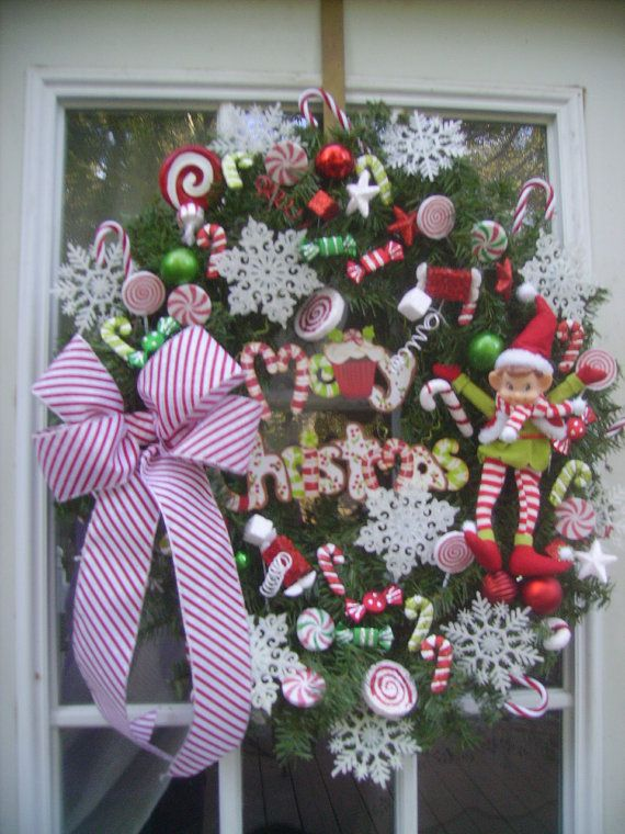 Candy Peppermint Christmas Door Wreath with by ThePetalShop