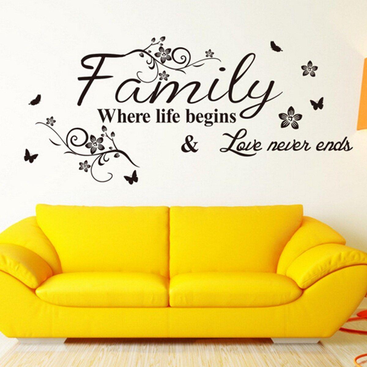 Family where life begins Love never ends Sticker Decor Wallpaper Art ...