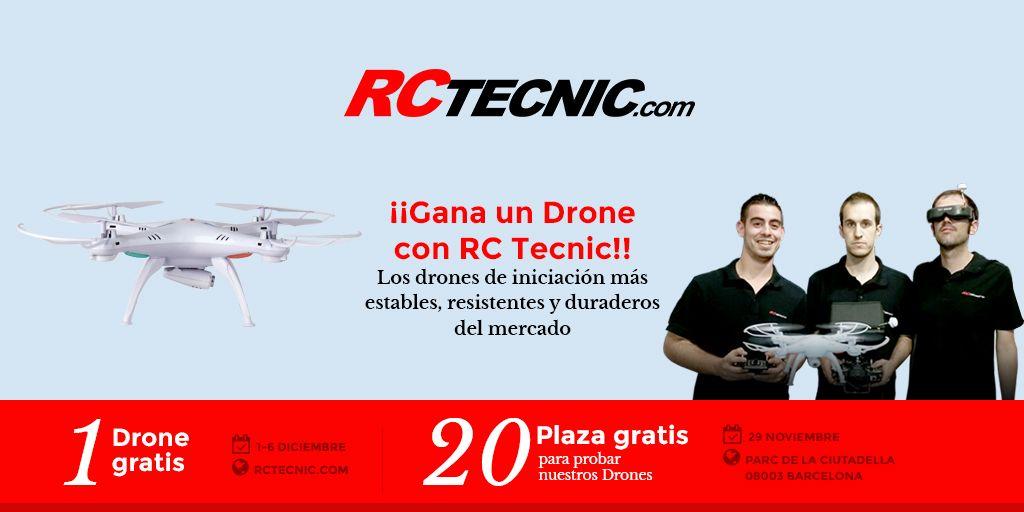 ¡¡Gana un #Drone   #Gratis   con RCTecnic!! Inscríbete ahora y entra en el sorteo de un Drone y/o consigue una de las 20 plazas para probar nuestros #Drones de iniciación: ¡Los más estables, resistentes y duraderos del mercado!  Descubre las bases del concurso aquí: http://www.rctecnic.com #concurso   #sorteo   #barcelona   #porlacara   #parcdelaciutadella