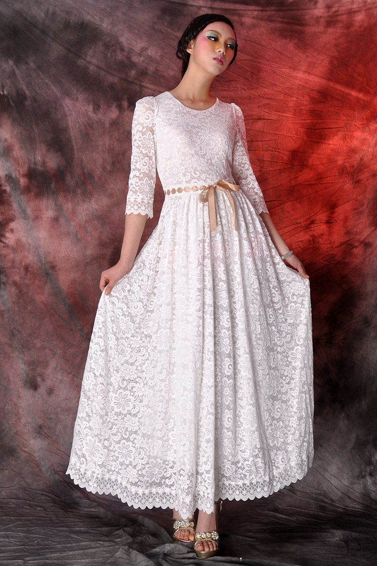 White Lace Maxi Dresswedding Dressparty Dresslong Dresscircle Dress