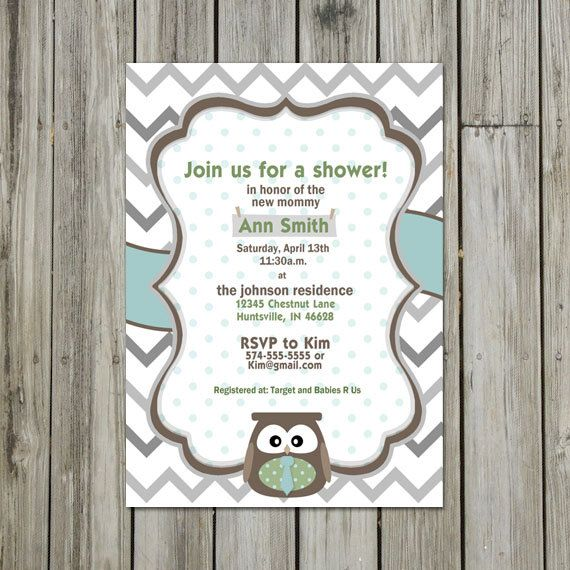 Baby Shower Invite  Owl Theme with Chevron by theScholarShop, $10.00