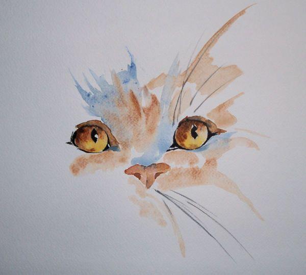 Aquarelle simple cat pinteres - Dessin peinture facile ...
