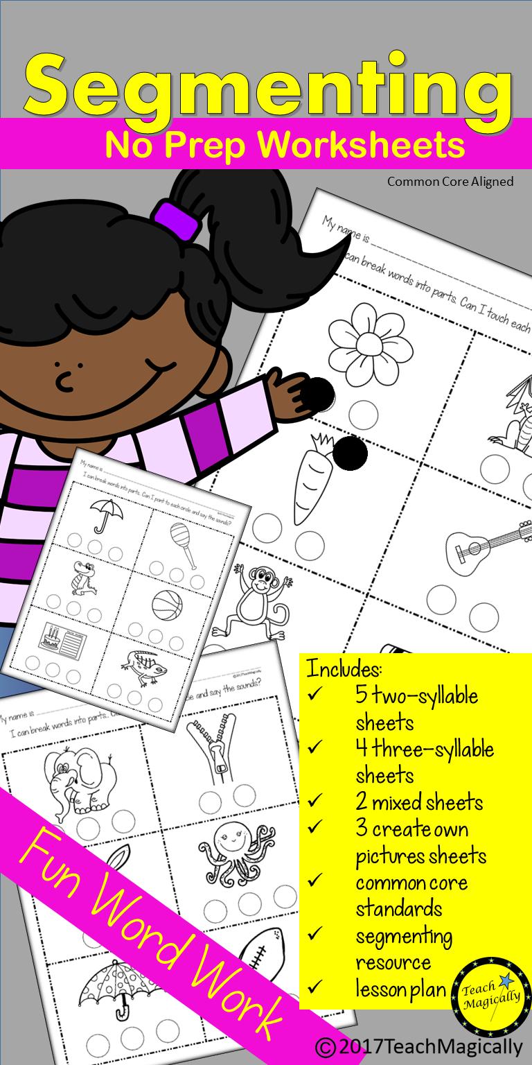 Segmenting And Blending Syllables No Prep Worksheets Teach