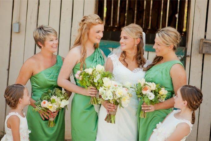 Green Bridesmaids Dresses For Rustic Barn Wedding