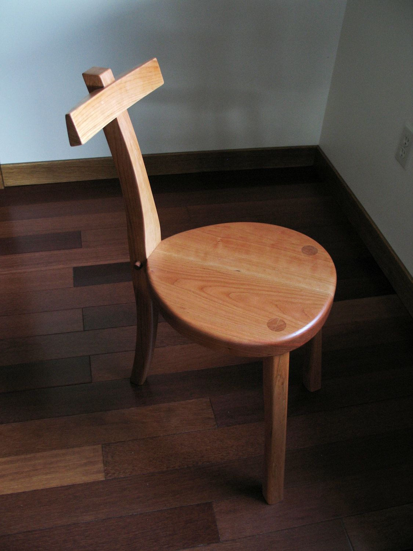 3 Legged Cherry Wood Chair  Guitar Stool  Handmade