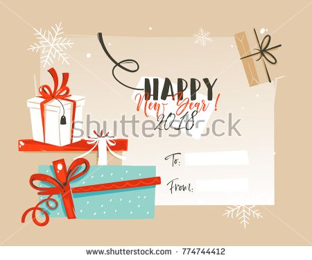 Hand drawn vector abstract Merry Christmas and Happy New Year time - greeting card template