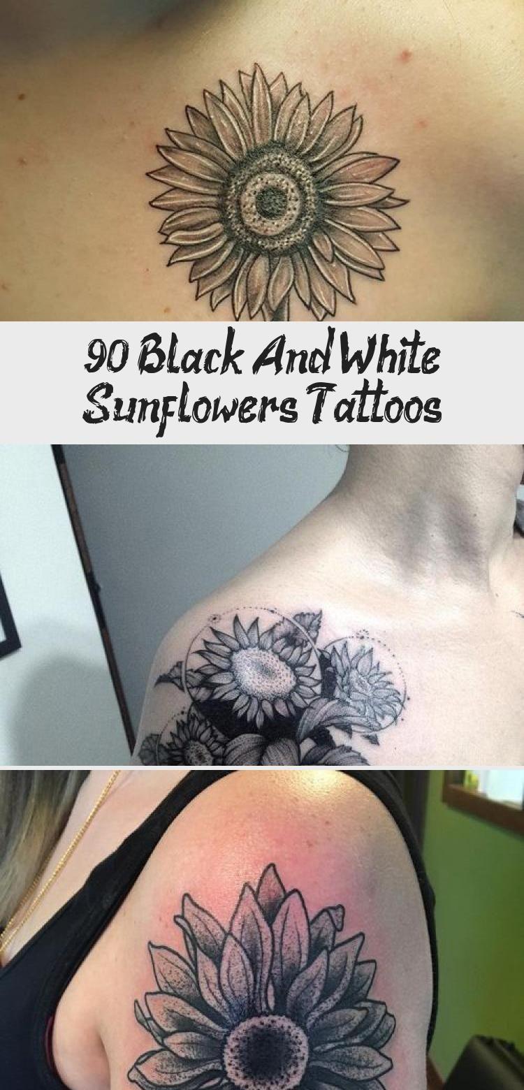 Photo of 90+ Black and White Sunflowers Tattoo Design Ideas #blacktattooEspalda #blacktat…