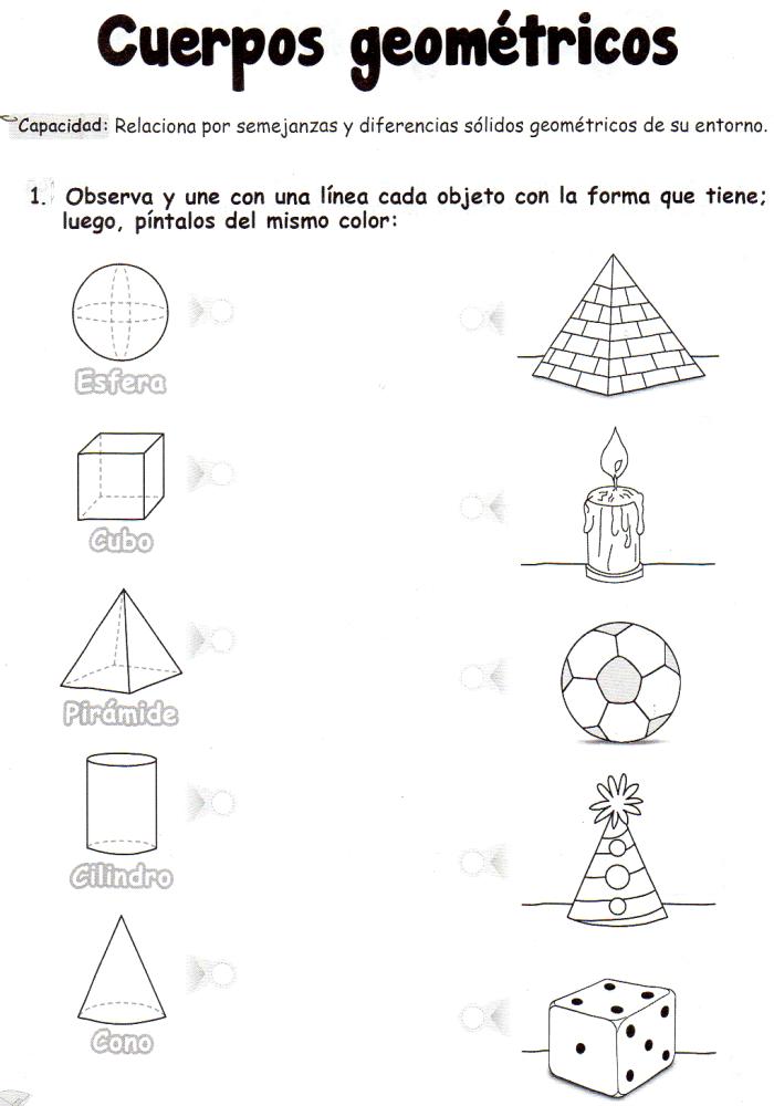 Ficha imprimible de matemáticas para 5 años. Tema: cuerpos ...