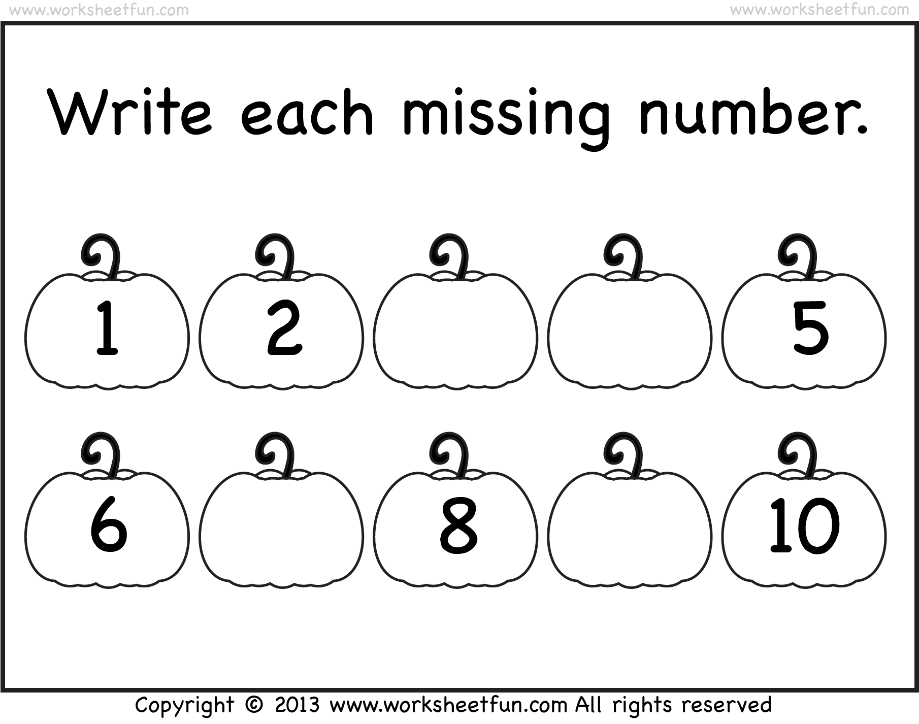 Missing Numbers 1 10 Worksheet