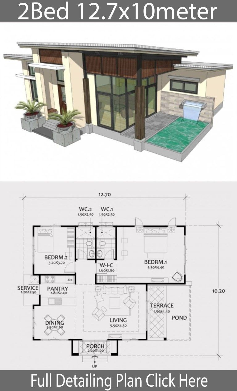 Home Design Plan 12 7x10m With 2 Bedrooms Sims House Design Modern House Floor Plans Bungalow House Design