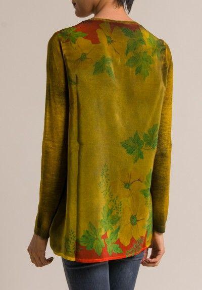 Avant Toi Printed Silk Back Crewneck Sweater in Girasole