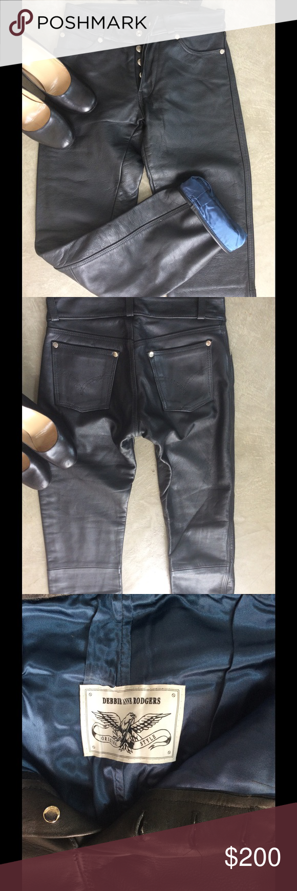 12a34e42b6 Custom made leather jeans. Never worn These are amazing and a total one  off. I had these tailor made for me patterned on a pair of Levi 501 s.