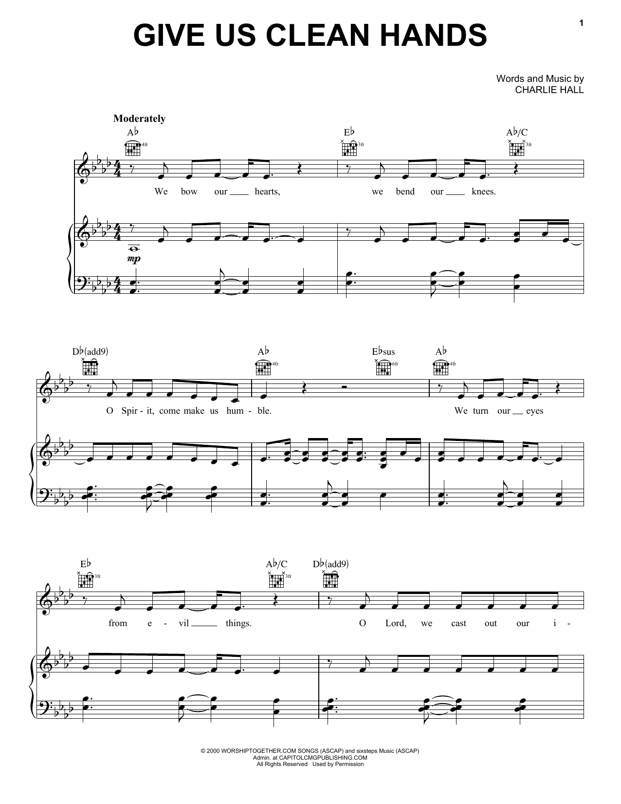 Chris Tomlin 'Give Us Clean Hands' Sheet Music and Printable PDF ...