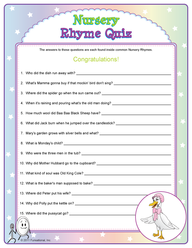 Tip #4: Play Printable Baby Shower Games, Like Nursery Rhyme Quiz.