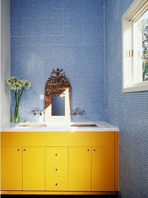 Bathroom Tiles, Yellow And Blue Bathroom