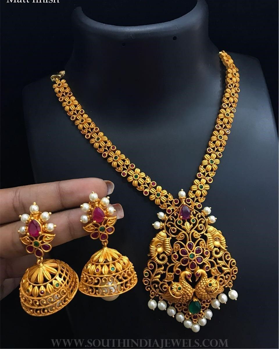 f8d359bc9c One Gram Gold Peacock Necklace Set From Alamakara ~ South India Jewels