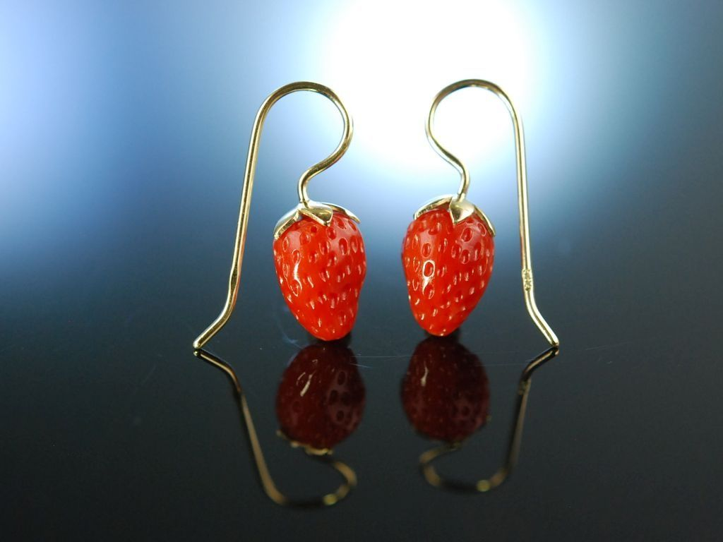 Coral Strawberry earrings! Hübsche Erdbeer Ohrringe Gold 585 / 14 ...