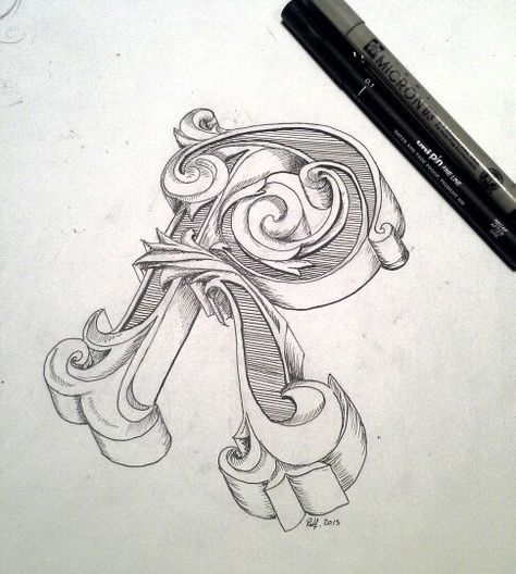 Typography Hand Drawing Initial Letter R By Rolf Dingerink Designbyrolfnl