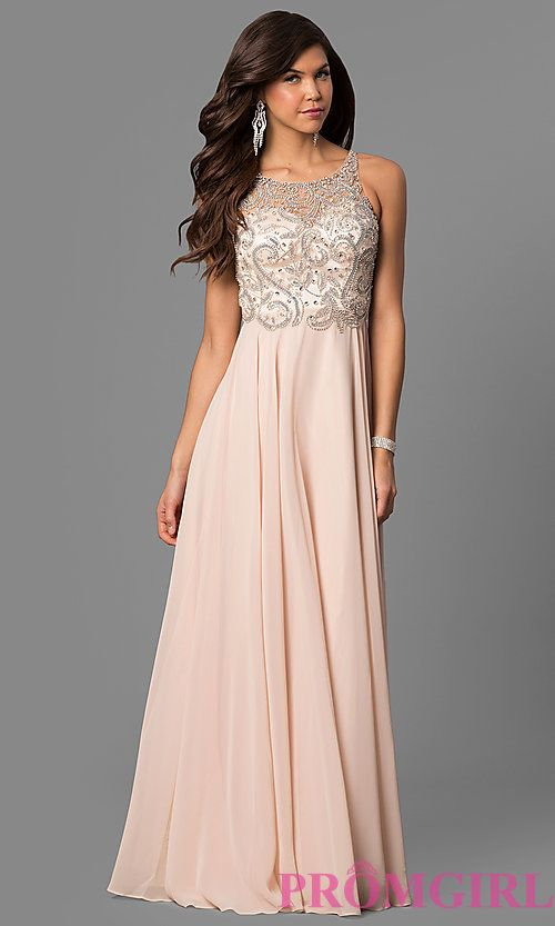 Open-Back Illusion Long Prom Dress with Beaded Bodice | Formal ...