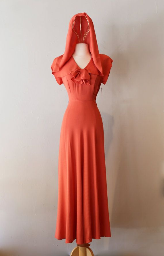 Vintage 1930\'s Hooded Evening Gown ~ Vintage 30\'s Rayon Crepe Coral ...