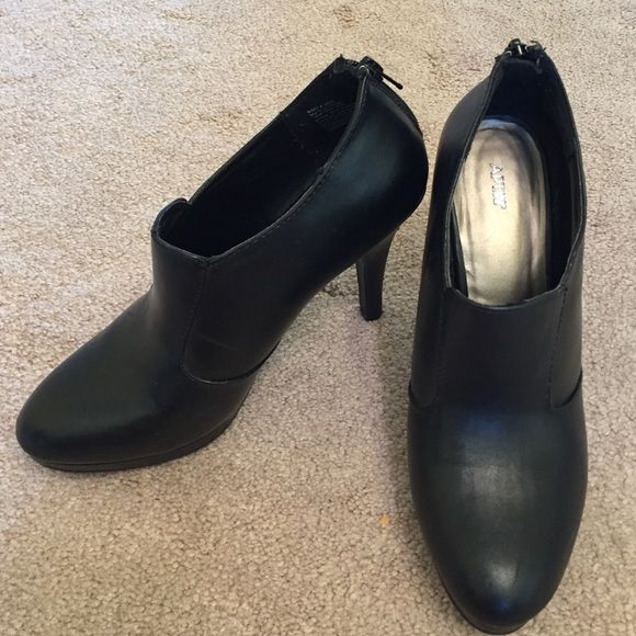 ✨FINAL PRICE✨Black Apt 9 Booties Black angle booties with zipper in the back.  Very comfortable for being high heel.  In excellent condition. Apt. 9 Shoes Ankle Boots & Booties
