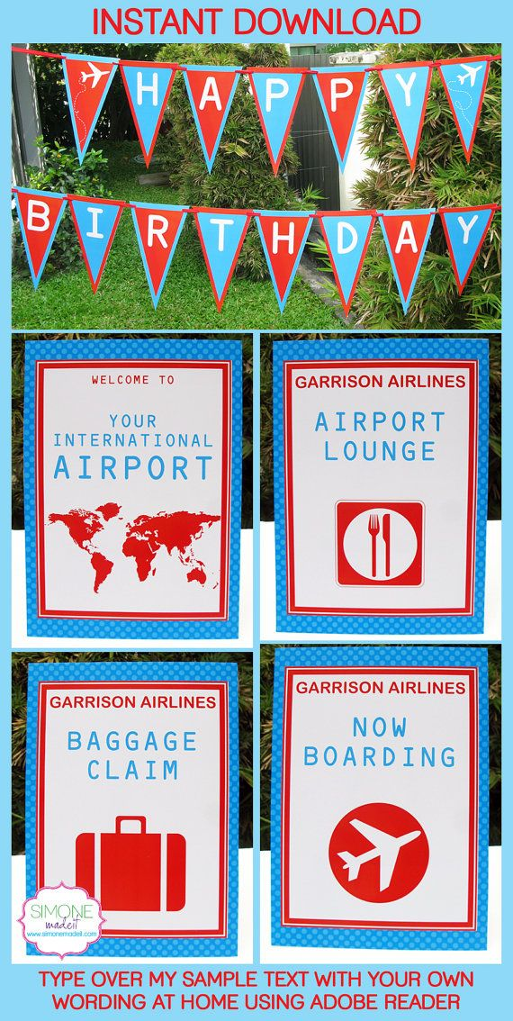 Airplane Theme Party Invitations & Decorations - full Printable ...