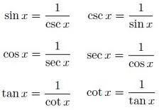 This pin shows the Reciprocal Identities for Sine, Cosine