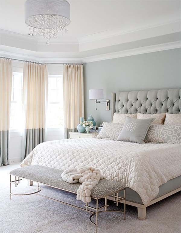 Awesome Pastel Colors Bedroom Ideas Part - 9: Master Bedroom With Pastel Color Grey Color Plus Bedroom Bench And Pendant  Ligh Popular Bedroom Decorating With Pastel Color Ideas And Lighting Bedroom  ...