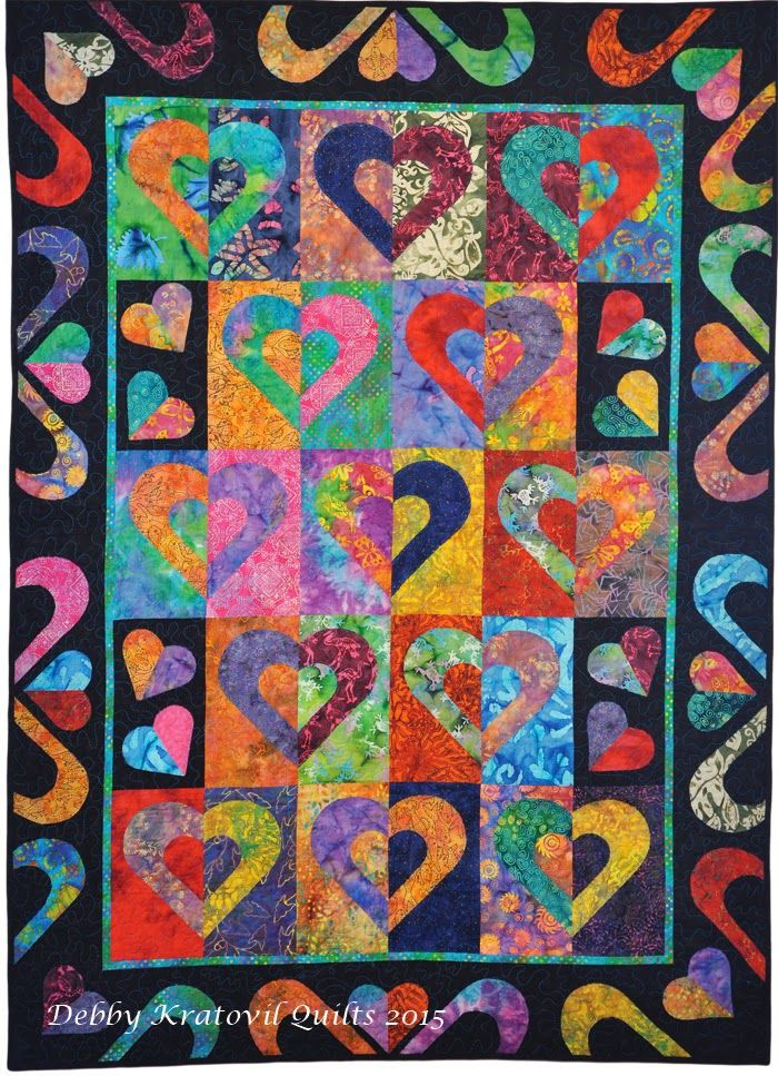 """Today on our blog, we have Debby Kratovil from Debby Kratovil Quilts blog sharing how her pattern """"Hearts on Fire"""" works beautifully with a group of our Benartex Batiks. (And the pattern is free to all readers today!)"""