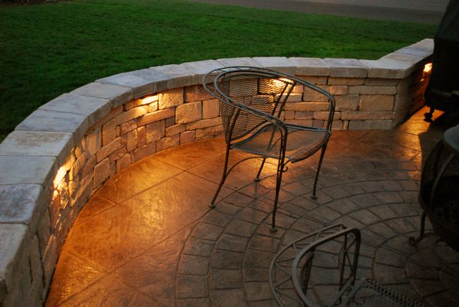 Adding Lights Into Sitting Wall Patio Seating Area Hardscape