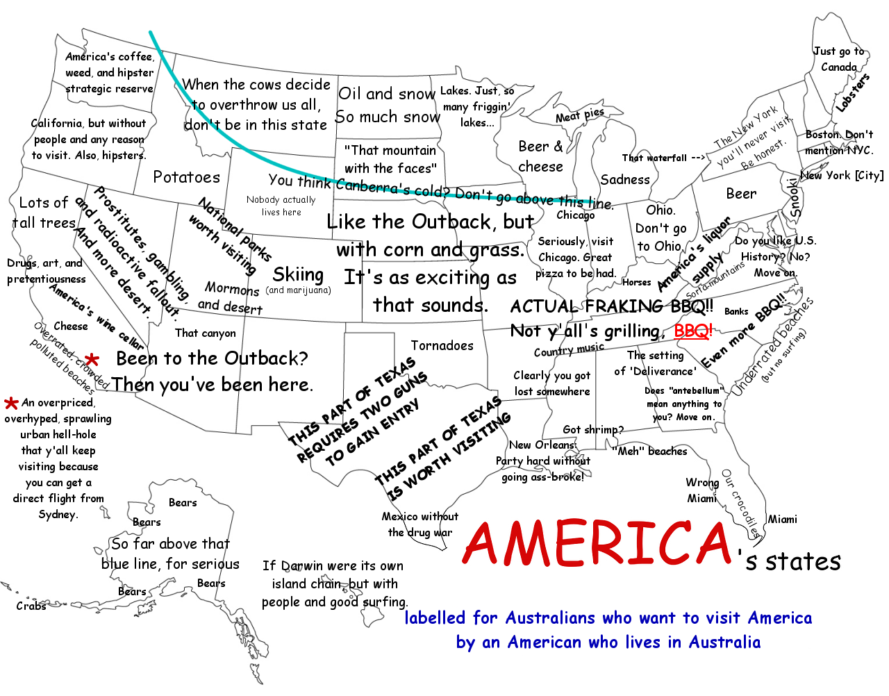 A Map Labelled For Australians Who Want To Visit America Made By - Labelled map of us